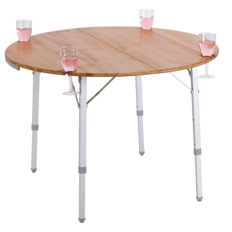 Vango Bamboo Round 100cm Table With Wine Glass Holders