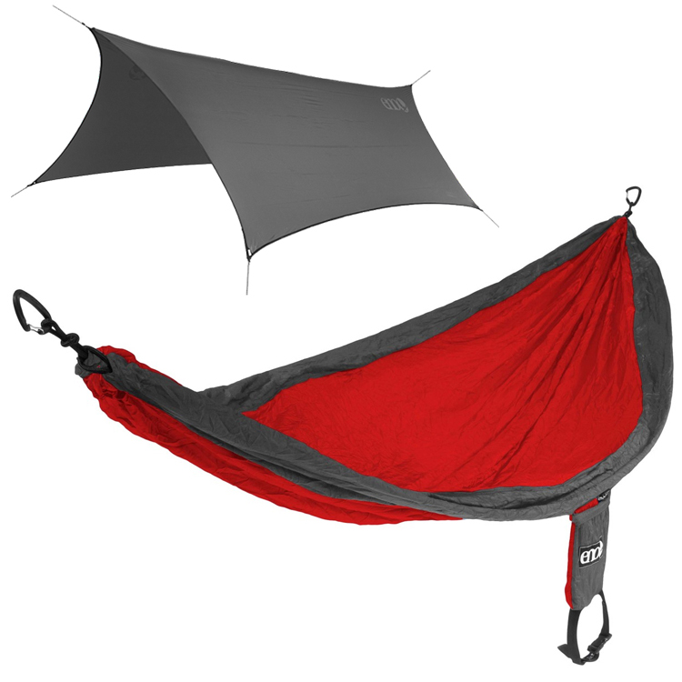 Eno Singlenest Red Charcoal Hammock With Eno Profly Grey